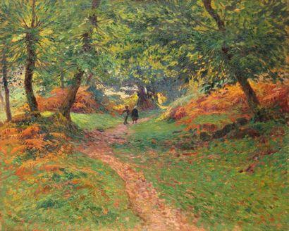PAUL MADELINE (1863-1920) Promeneurs en forêt...