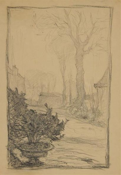HENRI LE SIDANER (1862-1939) Vasque fleurie...