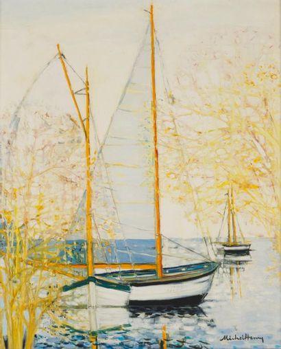 MICHEL HENRY (1928-2016) Trois voiliers Huile...