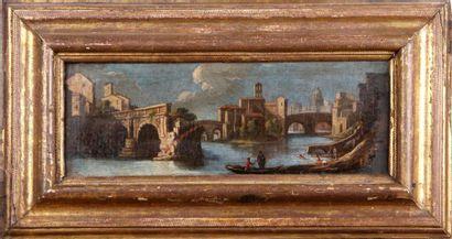 ÉCOLE ITALIENNE DU XVIIIe SIÈCLE Vue fantaisiste de Rome Toile Restaurations anciennes...