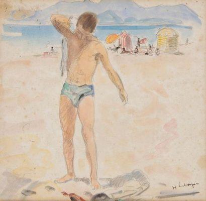 HENRI LEBASQUE (1865-1937) Baigneur Encre,...