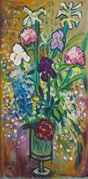 VINCENT ROUX (1928-1991) Vase fleuri Huile...