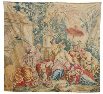 AUBUSSON TAPISSERIE en laine et soie d'après...