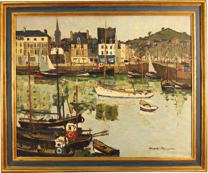 Jacques BOUYSSOU (La Rivière Saint-Sauveur, 1926 - Paris, 1997) Le Port de Honfleur...