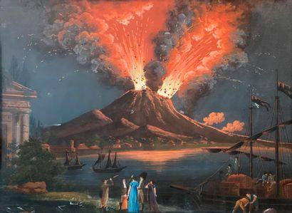 ÉCOLE NAPOLITAINE, VERS 1830  Éruption nocturne...