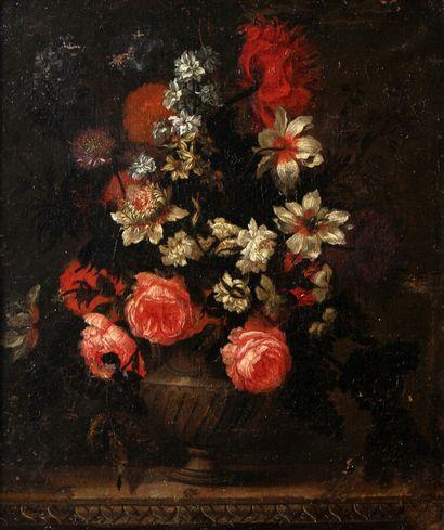 ATTRIBUÉ À ANTOINE MONNOYER (1670-1747)  Fleurs...