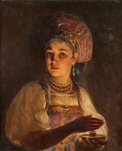 ZHURAVLEV Firs (1836-1901)  Jeune fille en...