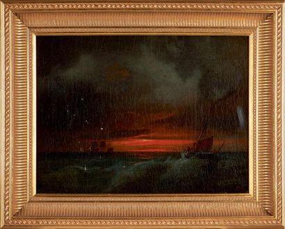 Théodore, Baron GUDIN (Paris, 1802 - Boulogne, 1880) EMBARCATION AU SOLEIL COUCHANT...