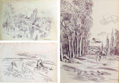 Hermine DAVID (1886-1970) BORD DE RIVIÈRES - BORD DE MER - PAYSAGE AUX GRANDS ARBRES...