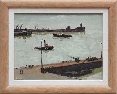 Jacques BOUYSSOU (La Rivière Saint-Sauveur, 1926 - Paris, 1997) Port de Honfleur....