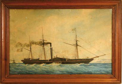 François-Joseph-Frédéric ROUX (1805-1870) Vapeur par mer calme Aquarelle, signée...