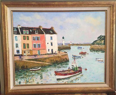Jacques BOUYSSOU (1926-1997), peintre Officiel de la Marine Le bateau rouge (Sauzon) Huile...