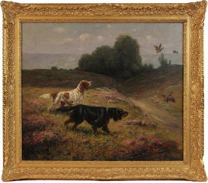 EUGÈNE PETIT (1839-1886) Chiens de chasse...