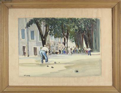 JEAN DELDEVEZ (1909-1983) Les boulistes Gouache...