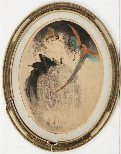 LOUIS ICART (1888-1950) Élégante au perroquet...