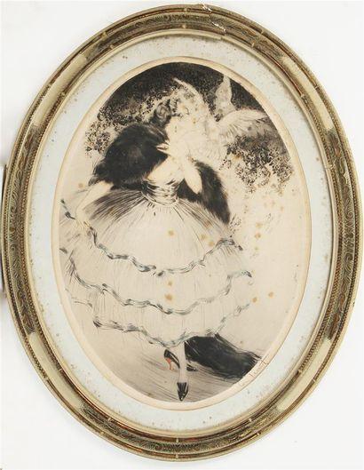 LOUIS ICART (1888-1950) Élégante aux colombes...