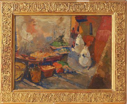 LEON CAUVY (1874-1933) Le marché arabe Huile...