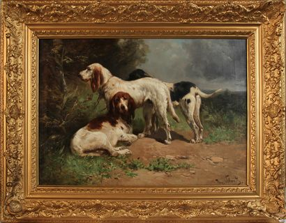PAUL HENRI SCHOUTEN (1860-1922) Trois chiens...