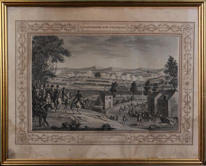 D'APRÈS SWEBACH Campagne des Français Sept gravures Accidents Haut. 32 cm - Larg....