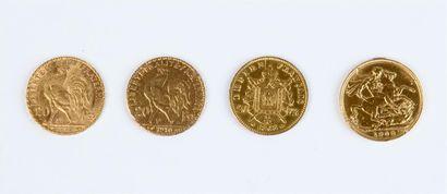 QUATRE PIÈCES or : trois de 20 FF (1868 - 1909 et 1910) et un Souverain Edouard...