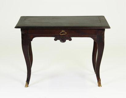 TABLE À ÉCRIRE en bois naturel noirci ouvrant...