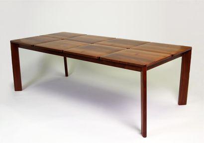 TABLE DE SALLE À MANGER en bois naturel verni,...