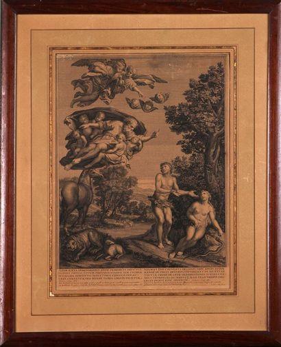 L'Assomption de la Sainte Vierge Gravure en noir Haut. 33 cm - Larg. 21,5 cm On...