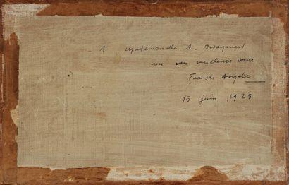 FRANÇOIS ANGELI (1890 - 1974) Paysage d'Auvergne (?) Huile sur panneau, signée en...