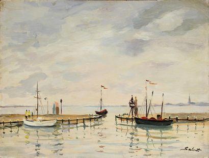 FRANÇOIS SALVAT (1892-1976) Voiliers en bord...