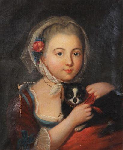 ÉCOLE FRANÇAISE DU XIXe SIÈCLE, SUIVEUR DE JEAN-BAPTISTE GREUZE Jeune fille au chat...