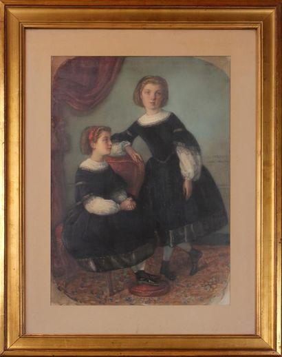 JOSEPH GABRIEL TOURNY (1817-1880) Les deux soeurs Aquarelle sur papier, signée au...