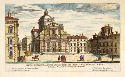 Paire de GRAVURES en couleurs représentant des églises romaines: Chiesa del Gesù...