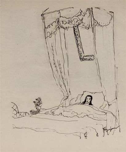 J. MARIO PÉROUSE (1880-1958) Automne près de Sauxillanges Fusain et aquarelle sur...