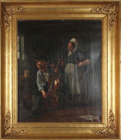 GUSTAV VILHELM BLOM (1853-1942) Scène d'intérieur au violonceliste Huile sur toile,...