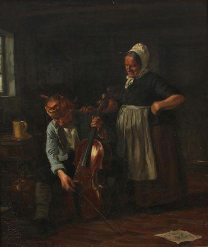 GUSTAV VILHELM BLOM (1853-1942) Scène d'intérieur...