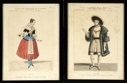 Suite de douze GRAVURES rehaussées: costumes...