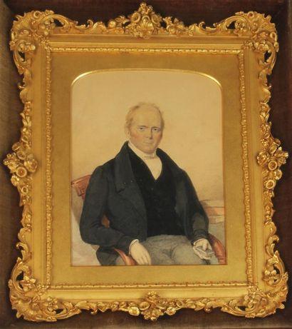 ÉCOLE ANGLAISE DU XIXe SIÈCLE Portrait d'homme...