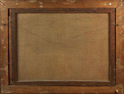 ÉCOLE ITALIENNE DU XVIIIe SIÈCLE Paysage animé de pêcheurs Huile sur toile Rentoilée,...