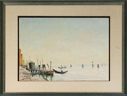 FRANÇOIS SALVAT (1892-1976) Venise Huile sur carton, signée en bas à gauche Haut....