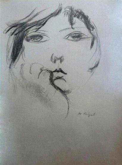 A. RIGAL, XXème siècle Étude de visage Dessin...