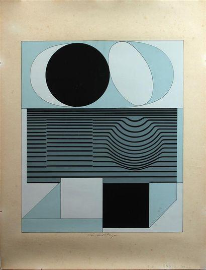 Victor VASARELY (1906-1997) Composition ONDO...