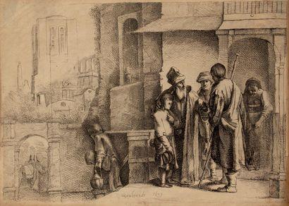 Trois estampes: - Le Départ d'après Rembrandt,...