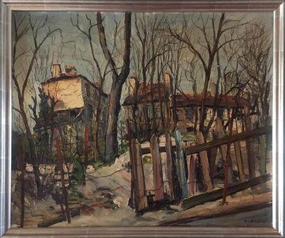 F. LECOADIC Maison à travers les bois Huile...