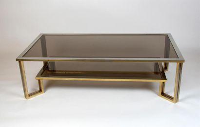 TABLE basse rectangulaire à double plateaux,...