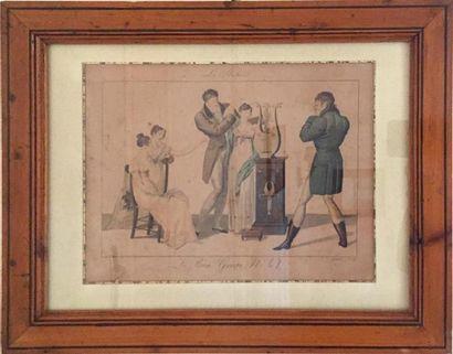 Trois GRAVURES couleurs («le bon genre») XIXe siècle Cadre en pitchpin Haut. 20...