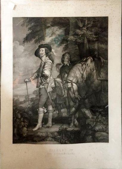 D'APRÈS VAN EYCK Charles Ier roi d'Angleterre Estampe en noir Rousseurs Haut. 78...