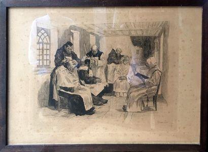 A. LANÇON Les moines, 1879 Suite de dix lithographies...