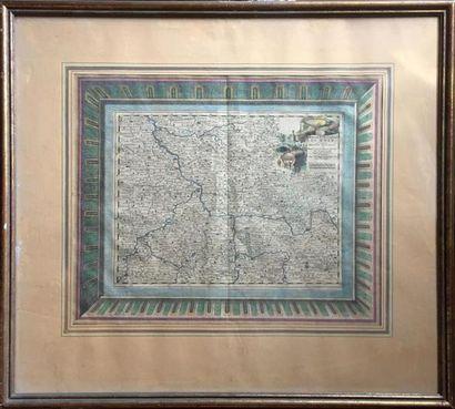 CARTE du Rhin en couleurs. Fin XVIIIe siècle,...