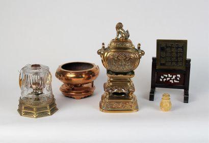 Lot composé de deux BRÛLES-PARFUM en bronze,...
