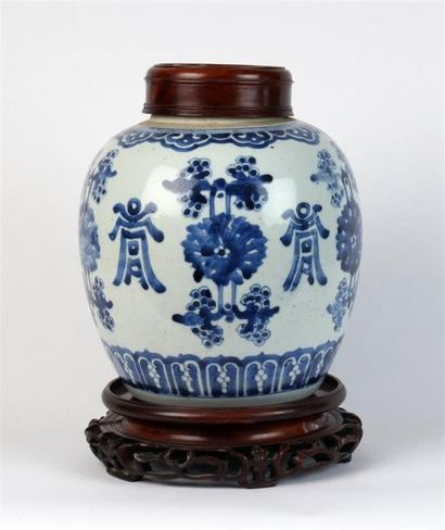 POT À GINGEMBRE en porcelaine blanc bleu...
